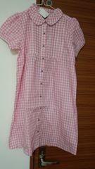 新品鍵のネックレス付きピンクのシャツワンピ定価2500+税