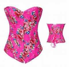 南国風花柄ピンクのセクシーコルセット