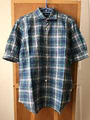 コムデギャルソン オムプラス チェック柄半袖シャツ M ブルー系