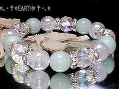 天然石★64面カットアクア水晶クラック・アマゾナイト数珠