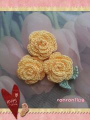 ハンドメイド/手編み♪レース編みお花のモチーフ3個セット 490