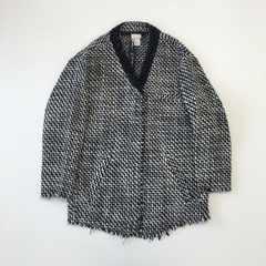 リナオク H&M エイチアンドエム ビーズ襟 ジャケット 黒×白