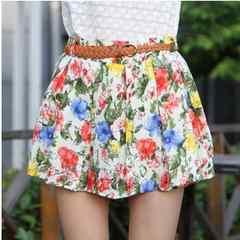 シフォンフリーツスカート●同布パンツ付●旬の花柄●新品