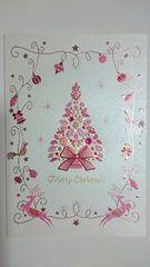 ラインストーン付き ピンクのキラキラクリスマスカード 未使用新品