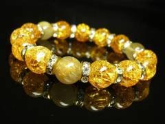 タイチンルチルクォーツ×シトリンクラックブレスレット 10ミリ数珠パワーストーン 金運上昇