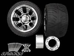 ジャイロ用 ブラックホイール扁平タイヤ&スペーサー70mm