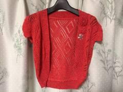 美品レッド赤色かぎ編みボレロ半袖ラメ