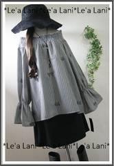 新品*刺繍×ストライプふんわりプルオーバー*大きいサイズ*3L