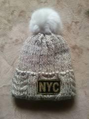 NYC ぼんぼん付 ニット帽新品