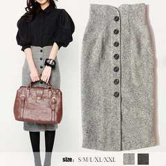 ネット最安値2690円★ツイードのタイトスカート グレー M