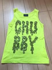 120cm チャビーギャング ヒョウ柄ロゴタンクトップ 黄緑 CHUBBY