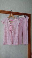 ピンク ドット柄 タオル地 フリルそで半袖 パジャマ  ギャザ— M