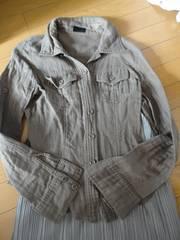 【M】 くらめブラウン系 シャツ 5分丈可