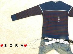 【UNIQLO/ユニクロ】カジュアル.キレイ目♪ボーダーロングTシャツ