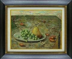 絵画 油彩 中島敏明『テーブルの世界』シュールレアリスム 真作保証