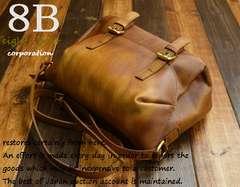◆牛本革 ビンテージ加工 自立式 小型ショルダーバッグ◆b18