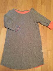 リバーシブル グレー×ピンク 7分丈クルーネックロング長Tシャツ