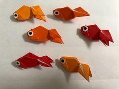 ハンドメイド  折り紙 夏 金魚 6匹  壁面飾り 幼稚園 施設