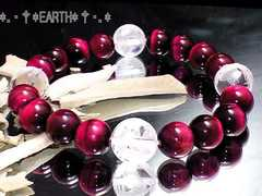 天然石★12ミリ素彫り四神獣水晶・10ミリピンクタイガ-アイ数珠