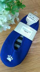 新品タグつき*床に優しい足床素材ルームシューズ 23〜25cm 刺繍ブルー
