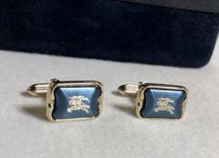 正規美 Burberryバーバリー 騎士 ホースロゴ ゴールド×ブルーメタリックカフス ボタン