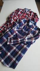 赤と青チェックのシャツ二枚まとめLL