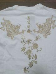 ☆訳アリ新品[絡繰魂]龍梵字刺繍金襴 長袖Tシャツ スカジャン好きにも