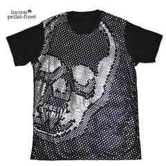 ルシアンペラフィネメンズドットスカルシルバーTシャツS黒lucien pellat-finet