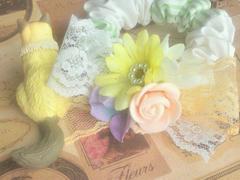 ハンドメイド*・゚Sweetロマンチックなブーケシュシュ†Flower†レースリボン