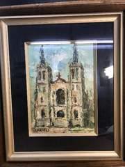 海部滋郎。油彩画。教会。