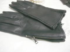 LANVINランバン羊革手袋ブラウンサイドジッパー24サイズM