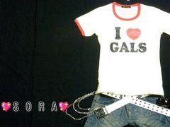 I LOVE GALSアメカジ♪プリントリンガーTシャツ