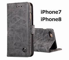 手帳型アンティークレザーiPhoneケース ブラック 1/BF5