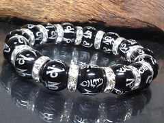 銀彫り六字真言梵字オニキス12ミリ銀ロンデル数珠