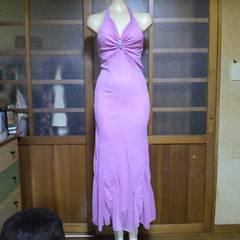 ピンクバラ柄ラメ ホルターロングドレス