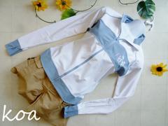 【新品】オクノフミコ長袖ラッシュガード《白×サックス/L》