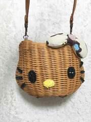 日焼けブラウンキティちゃん猫リボンヒョウカゴバッグショルダー