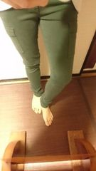 ☆新品☆ユニクロ☆ミリタリーアーミー☆カーゴスキニーパンツ☆カーキ深緑☆64☆
