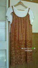 大きいサイズ【handmade】c.大人のキャミワンピ*透け感花柄◆3L〜