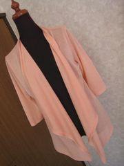 CORZA☆サーモンピンク七分袖薄手カーデ♪美品Lサイズ