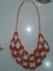 オレンジネックレス二連胸元ゴージャス ファッションジュエリー