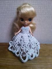 プチブライスof水色のレース編みドレス
