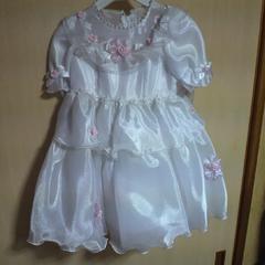 キッズ白フリル ドレス 3才用 七五三・お祝い・結婚式等に