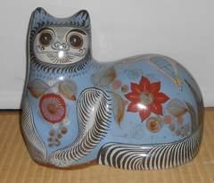 メキシコ製焼き物のアステカ文明?抽象的な猫です。