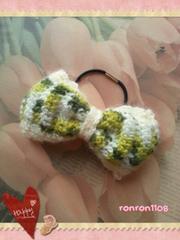 ハンドメイド/手編み♪毛糸編みニットリボンヘアゴム 79