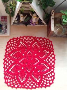 ♪手編み♪  原色ドイリー   赤