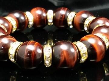 赤虎目石§レッドタイガーアイ14ミリ§金ロンデル数珠