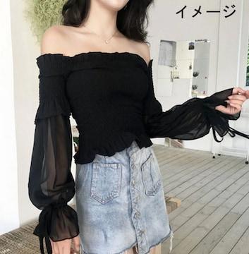新品[8017]黒シャーリングベアトップ★長袖シフォンレース袖付き