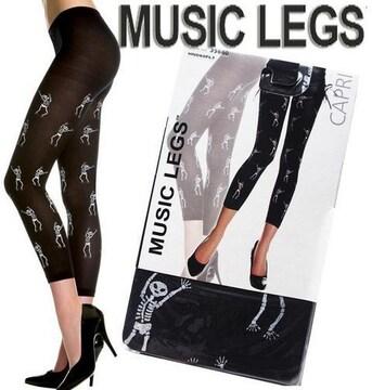 3A9)MusicLegsスカルレギンスタイツ黒仮装衣装コスプレハロウィンパンクロックB系パーティー