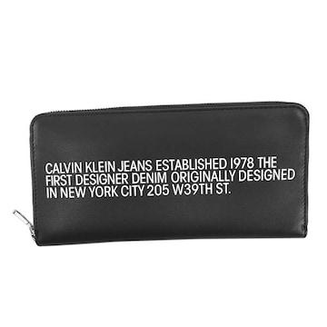 ◆新品本物◆カルバンクラインジーンズ ラウンドファスナー長財布(BK)K60K606877◆